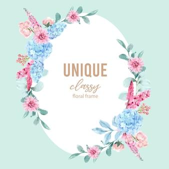 アジサイ、ルピナスのイラストの水彩画と花の魅力的な花輪。
