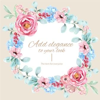 ヴィンテージの花の水彩イラストと花の魅力的な花輪。