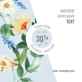 Весенние социальные медиа обрамляют живые цветы, декор карты с цветочным красочным садом, свадьбу, приглашение