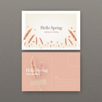 花の水彩イラストと花のワインのポストカード。