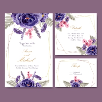 牡丹、ラベンダーの水彩イラストと花のワインのウェディングカード