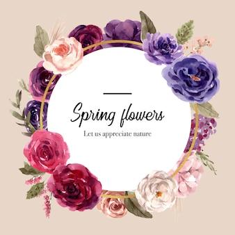 Венок из цветов, роза, пион, лизиантус, акварель