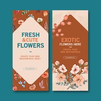 Ретро цветочные шаблоны баннеров