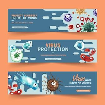Шаблоны баннеров для защиты от вирусов в стиле акварели