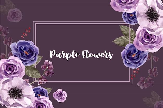 水彩風の紫の花のフレーム