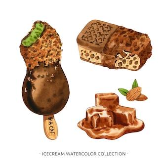 Комплект различной изолированной иллюстрации акварели мороженого для декоративного использования.