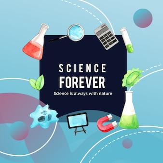 Дизайн венка науки с лупой, иллюстрацией акварели пробирки,