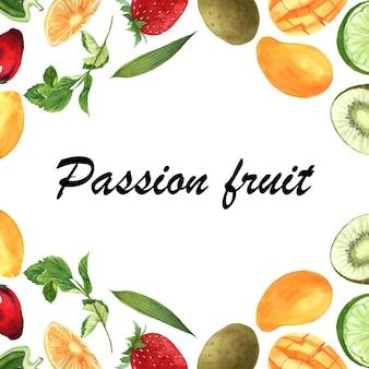 テキスト、キウイ、パイナップル、フルーティーなパターンを持つパッションフルーツとトロピカルフルーツフレームバナー