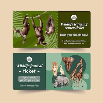 猿、ミーアキャット、タイガー水彩イラストと動物園チケットデザイン。