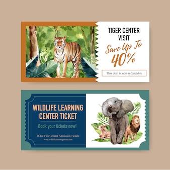 象、ライオン、鹿の水彩イラストと動物園チケットデザイン。