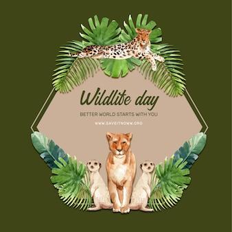 ヒョウ、ライオン、ミーアキャット水彩イラストと動物園花輪デザイン