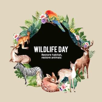 シマウマ、鹿、オウムの水彩イラストと動物園花輪デザイン