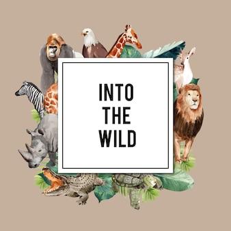 Зоопарк дизайн венок с орлом, гориллой, жирафом, носорогом акварельные иллюстрации,