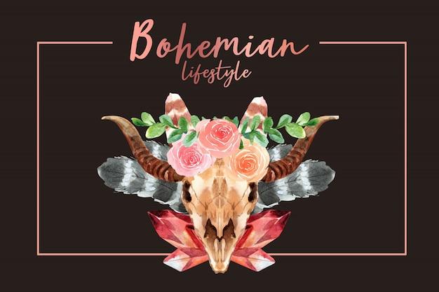 牛の頭蓋骨、花の水彩イラストとボヘミアンフレームデザイン。