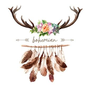 Богемный дизайн венка с рогом, цветочная акварельная иллюстрация,