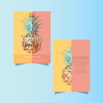 ビーチの海の日差しの中で夏の招待カードホリデーパーティー