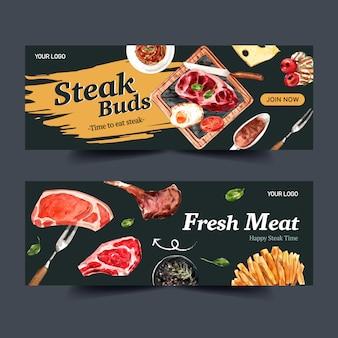 Дизайн баннера стейк с картофелем фри, гриль мясо акварельные иллюстрации.