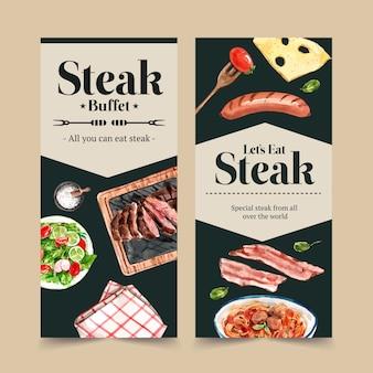 サラダ、スパゲッティ、ステーキ水彩イラストとステーキチラシのデザイン。