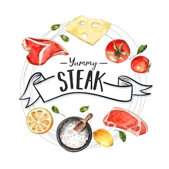 肉、トマト、レモンの水彩イラストのステーキリースデザイン