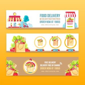 Дизайн знамени доставки с иллюстрацией еды, овоща, транспорта и логистической акварели.