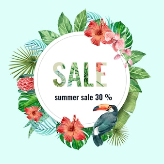 夏の広告休暇。セール割引を促進します。
