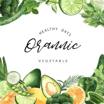 Зеленые овощи, акварель, органическая рамка, огурец, горох, брокколи, сельдерей
