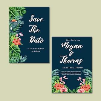 Тропическая открытка-приглашение лето с экзотической листвой растений, креативная акварель