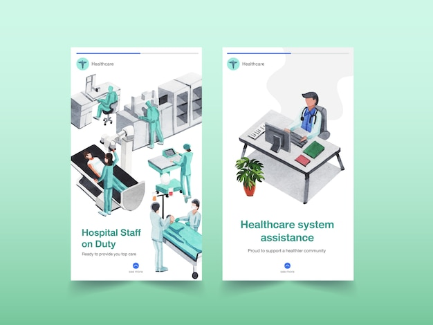 Дизайн шаблона медицинского инстаграмма с медицинским оборудованием и медицинским персоналом и высокотехнологичными устройствами врачей и пациентов