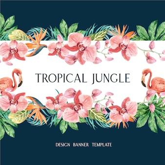 Рамка тропическая бордюрная лето с листвой растений экзотическая, креативная акварель