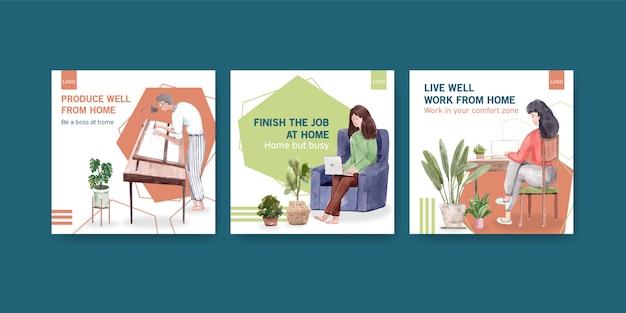 Рекламный шаблон дизайна с людьми, работающими из дома. домашний офис концепция акварель векторные иллюстрации