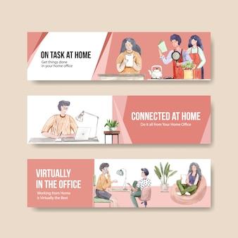 Люди работают из дома с ноутбуками, пк за столом, за диваном. домашний офис баннер концепция акварельные иллюстрации