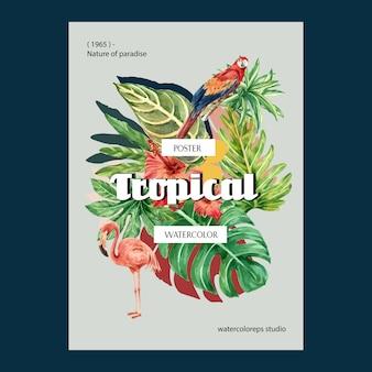 熱帯ポスター夏の植物の葉のエキゾチックな、創造的な水彩画