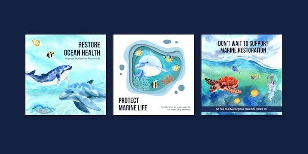 世界海洋デーの環境保護の概念広告テンプレート