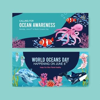 Шаблон рекламного щита для концепции всемирного дня океанов с вектором акварели морских животных