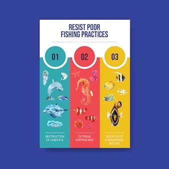 海洋動物の水彩ベクトルと世界海洋デーのコンセプトに関する情報