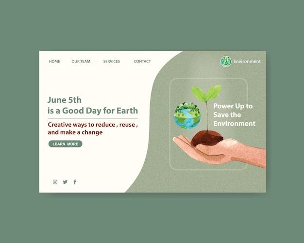 Дизайн шаблона сайта для всемирного дня окружающей среды. спасите планету земля концепция мира акварель вектор