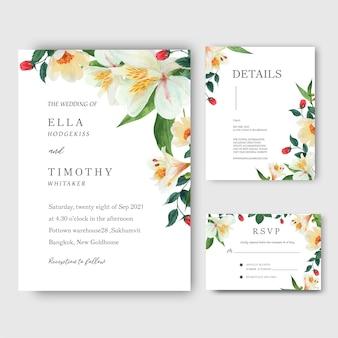 ユリ、バラ、マグノリアの花の水彩画の花束の招待状、日付を保存