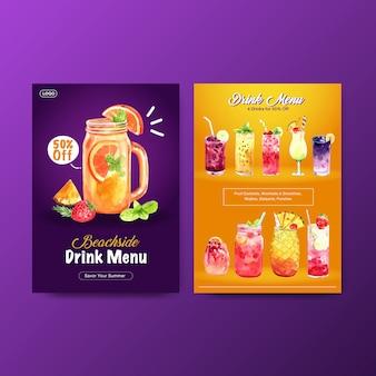 Шаблон меню летнего напитка