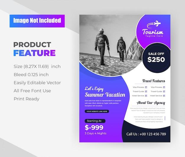 夏休みツアー&旅行代理店のチラシデザインテンプレート
