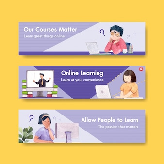 ウェブサイトのためのオンライン学習バナーテンプレートデザイン、水彩画を宣伝