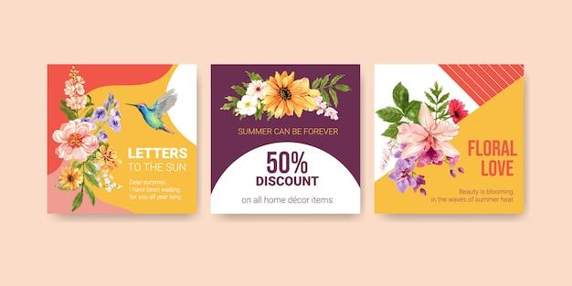 Шаблон рекламы с летним цветочным дизайном акварелью