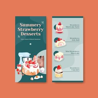 チーズケーキ、ゼリーロール、ショートケーキ、カップケーキの水彩イラストとパンフレットのイチゴを焼くチラシテンプレートデザイン