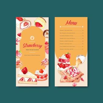 カップケーキ、ワッフル、チーズケーキ、ショートケーキの水彩イラストとパンフレットのイチゴを焼くチラシテンプレートデザイン