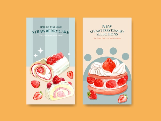 ソーシャルメディア、オンラインコミュニティ、インターネットのデザインを焼くイチゴのテンプレートと水彩イラストを宣伝