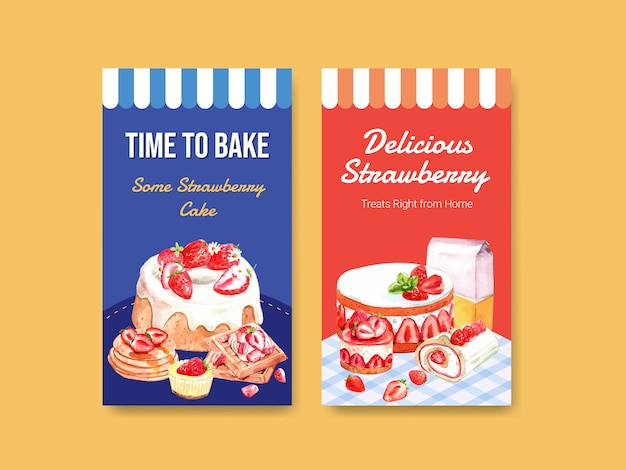 Шаблон с дизайном выпечки клубники для социальных сетей, интернет-сообщества, интернета и рекламы акварельной иллюстрации