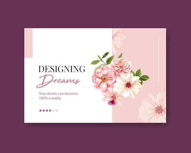 Шаблон социальных медиа с летней цветочной концепцией дизайна акварелью