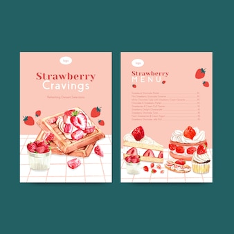 Шаблон меню с клубникой выпечки дизайн для ресторана, кафе, бистро и продуктовый магазин акварельные иллюстрации