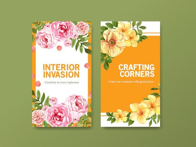 夏の花のコンセプトデザインの水彩画とソーシャルメディアテンプレート