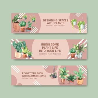 夏の植物バナーテンプレートデザインパンフレット、リーフレット、宣伝、小冊子の水彩イラスト