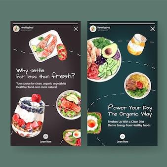 Шаблон с дизайном здоровых и органических продуктов для социальных медиа, акварель